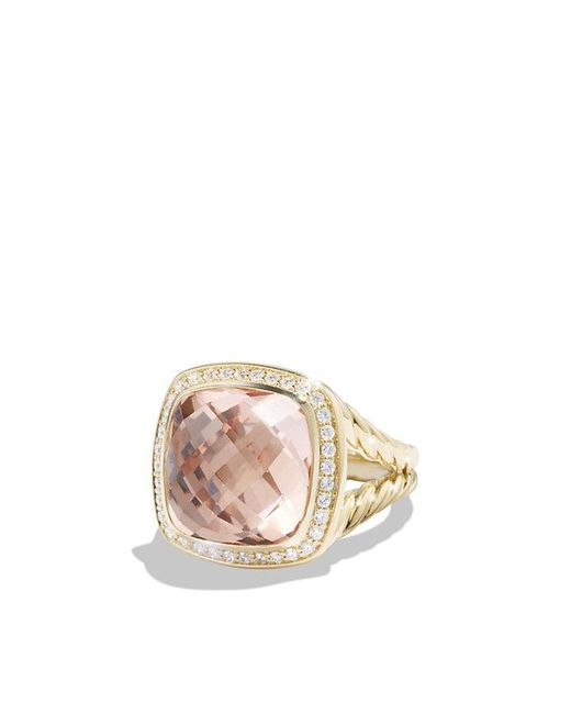 David Yurman | Green Albion® Ring With Morganite And Diamonds In 18k Gold, 14mm | Lyst