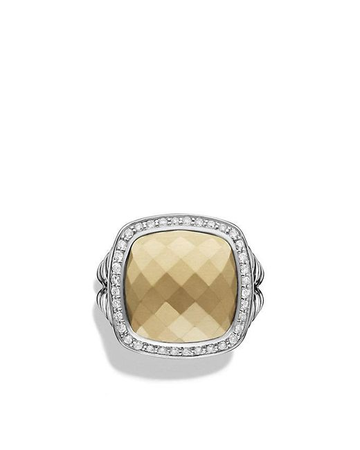 David Yurman - Metallic Albion® Ring With 18k Gold Dome And Diamonds, 14mm - Lyst