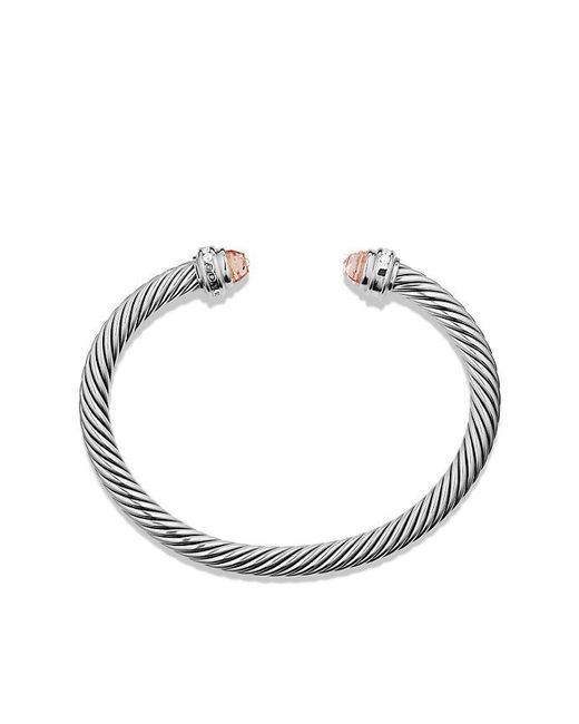 David Yurman | Metallic Cable Classics Bracelet With Morganite And Diamonds, 5mm | Lyst