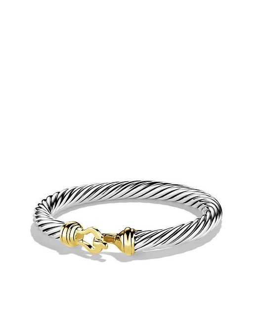 David Yurman | Metallic Cable Classic Buckle Bracelet With 14k Gold, 7mm | Lyst