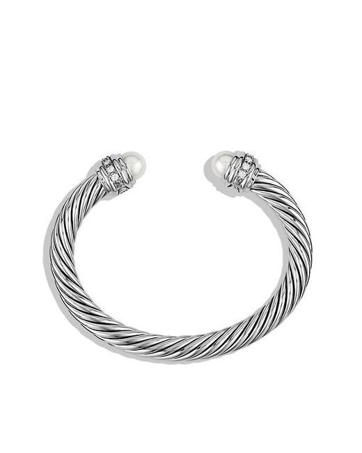 David Yurman | White Cable Classics Bracelet With Pearls And Diamonds, 7mm | Lyst