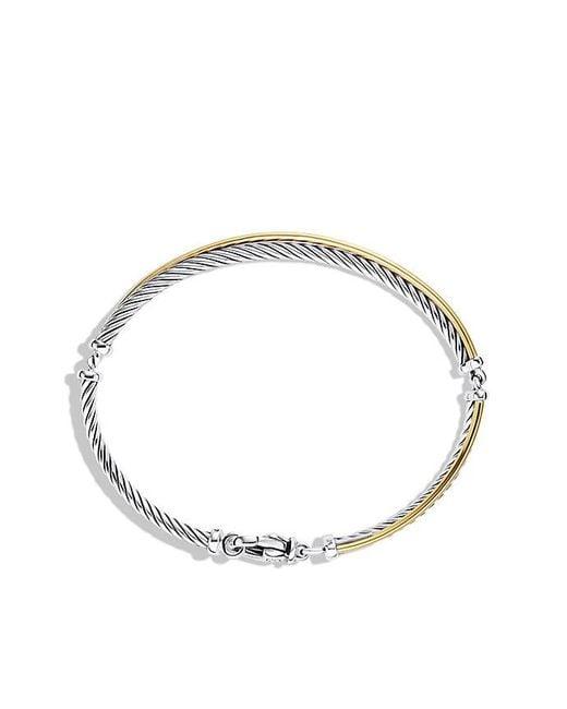 David Yurman | Metallic Crossover Bracelet With 18k Gold | Lyst