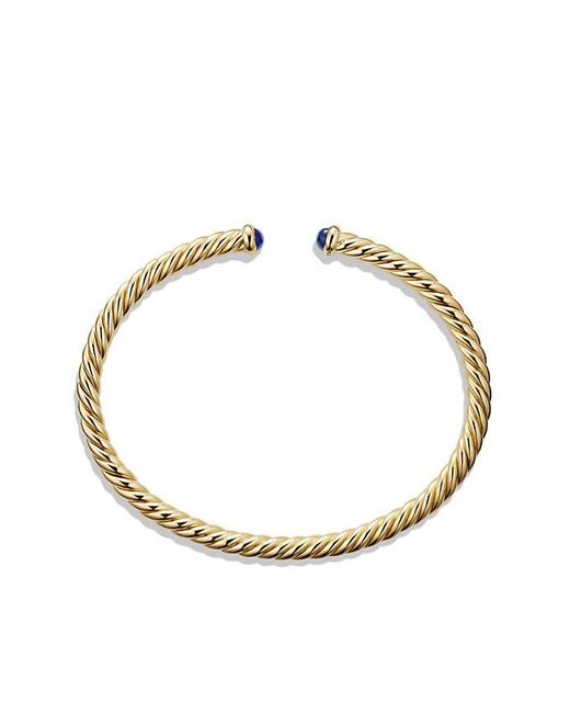 David Yurman | Cable Spira Bracelet With Blue Sapphires In 18k Gold, 4mm | Lyst
