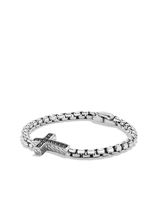 David Yurman | Metallic Pavé Cross Bracelet With Black Diamonds for Men | Lyst