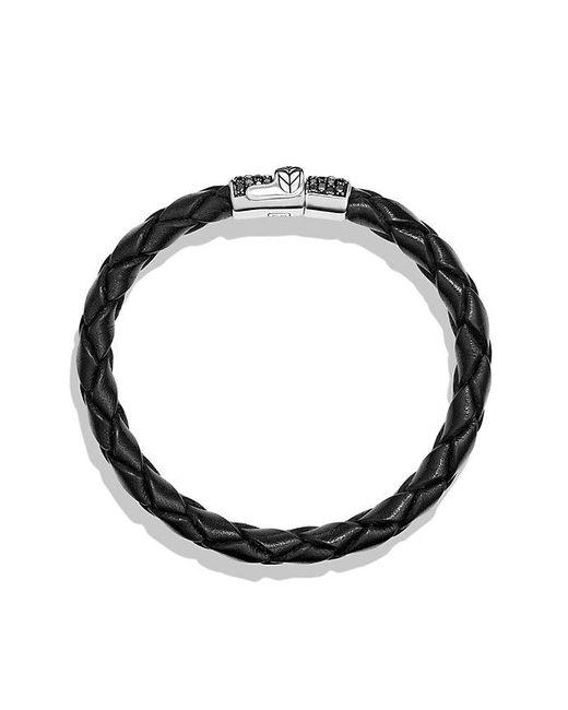 David Yurman | Chevron Narrow Woven Leather Bracelet With Black Diamonds In Black, 8mm for Men | Lyst
