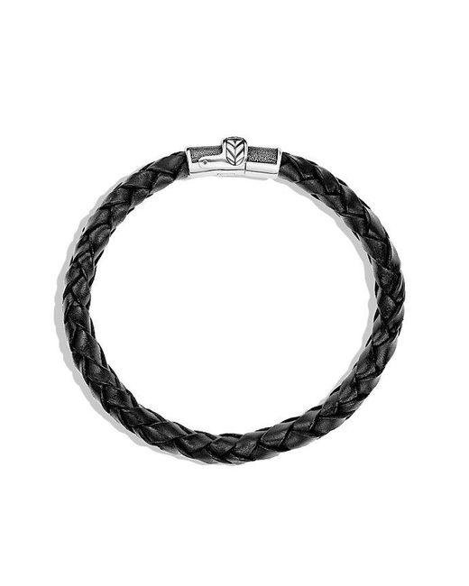 David Yurman | Chevron Narrow Woven Leather Bracelet In Black, 8mm for Men | Lyst