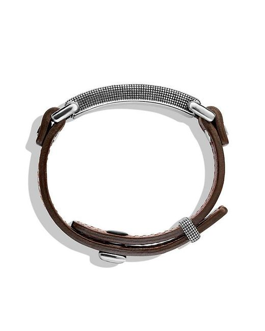 David Yurman | Waves Id Bracelet In Brown Leather With 18k Gold for Men | Lyst