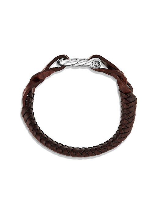 David Yurman | Maritime Leather Woven Shackle Bracelet In Brown | Lyst
