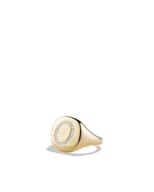 David Yurman - Metallic Dy Initial Pinky Ring With Diamonds In 18k Gold - Lyst