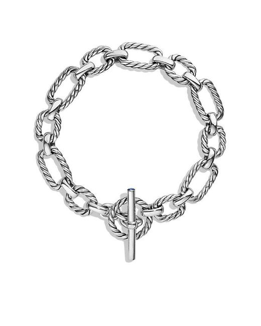David Yurman - Metallic Cushion Link Bracelet With Blue Sapphires - Lyst