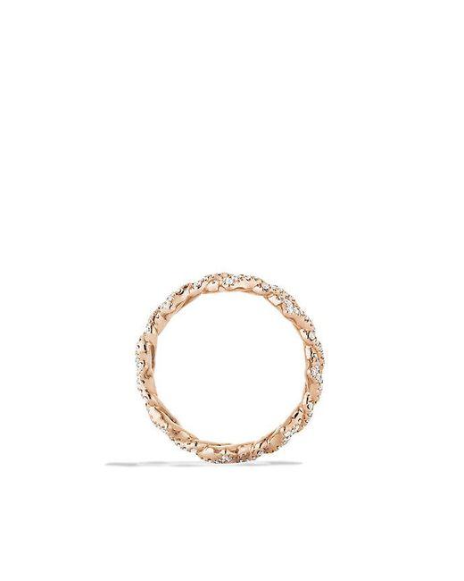 David Yurman | Pink Venetian Quatrefoil Stacking Ring With Diamonds In 18k Rose Gold | Lyst