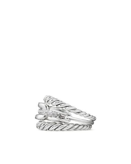 David Yurman | Metallic Wellesley Linktm Three-row Ring With Diamonds | Lyst