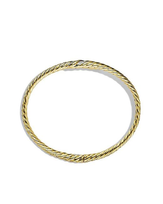 David Yurman | Metallic Willow Open Single-row Bracelet With Diamonds In 18k Gold, 11mm | Lyst