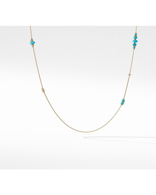 David Yurman - Metallic Rio Rondelle Long Station Necklace With Turquoise In 18k Gold - Lyst