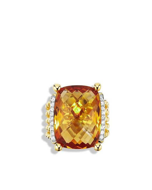 David Yurman - Yellow Wheaton Ring With Citrine And Diamonds In 18k Gold - Lyst