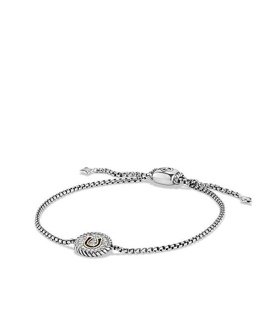 David Yurman | Metallic Cable Collectibles Horseshoe Charm Bracelet With Diamonds And 18k Gold | Lyst