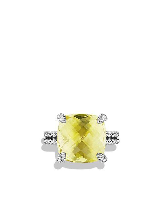 David Yurman | Yellow Châtelaine Ring With Lemon Citrine And Diamonds, 14mm | Lyst
