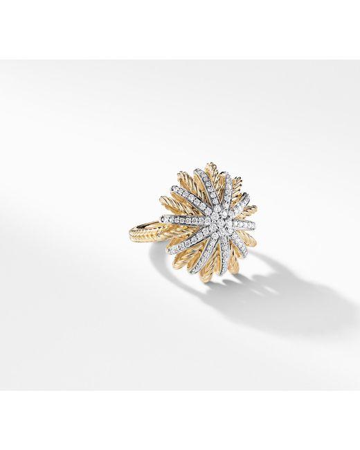David Yurman - Metallic Starburst Ring With Diamonds In 18k Gold - Lyst