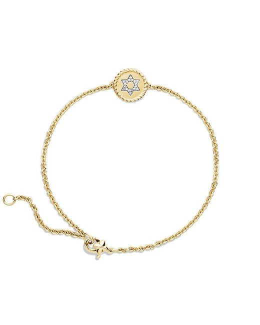David Yurman | Metallic Cable Collectibles Star Of David Bracelet With Diamonds In 18k Gold | Lyst