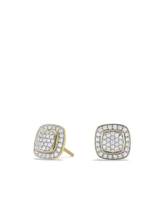 David Yurman | Metallic Petite Albion Earrings With Diamonds In 18k Gold | Lyst