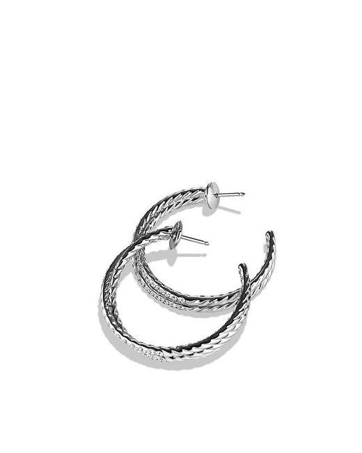 David Yurman - Crossover Hoop Earrings With Diamonds In 18k White Gold - Lyst