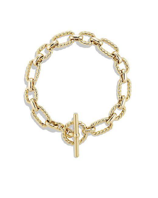 David Yurman | Metallic Cushion Link Bracelet With Diamonds In 18k Gold | Lyst