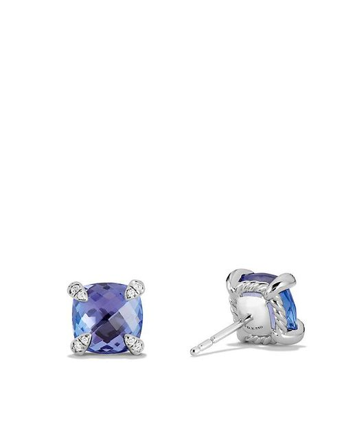 David Yurman - Blue Chatelaine Stud Earring With Tanzanite And Diamonds In 18k White Gold, 8mm - Lyst