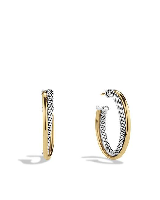 David Yurman - Metallic Crossover Hoop Earrings With 18k Gold - Lyst