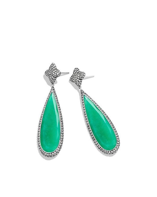 David Yurman | Green Quatrefoil Drop Earrings With Chrysoprase And Gray Diamonds In 18k White Gold | Lyst