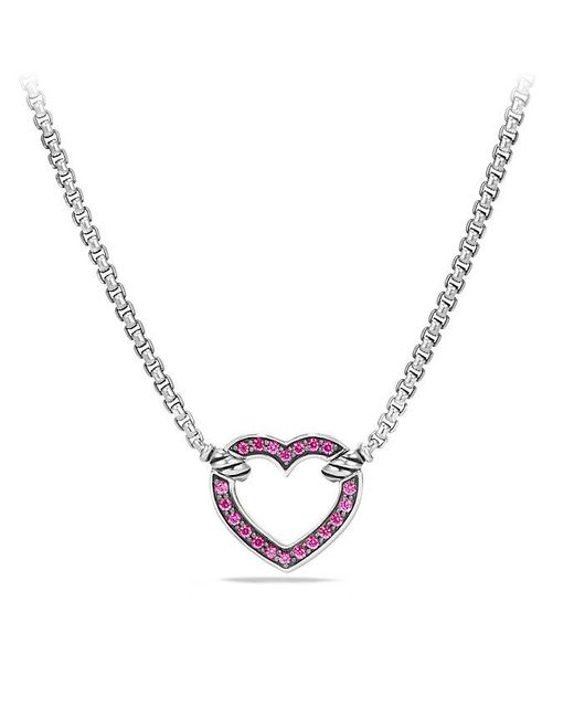 David Yurman - Metallic Petite Pavé Heart Station Necklace - Lyst