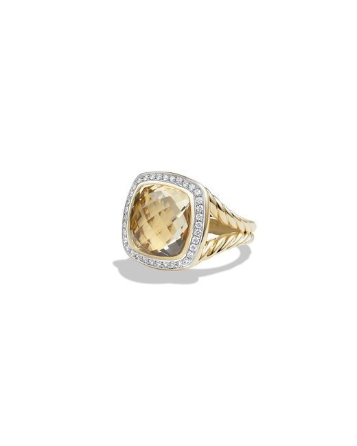 David Yurman - Metallic Albion® Ring With Champagne Citrine And Diamonds In 18k Gold, 14mm - Lyst