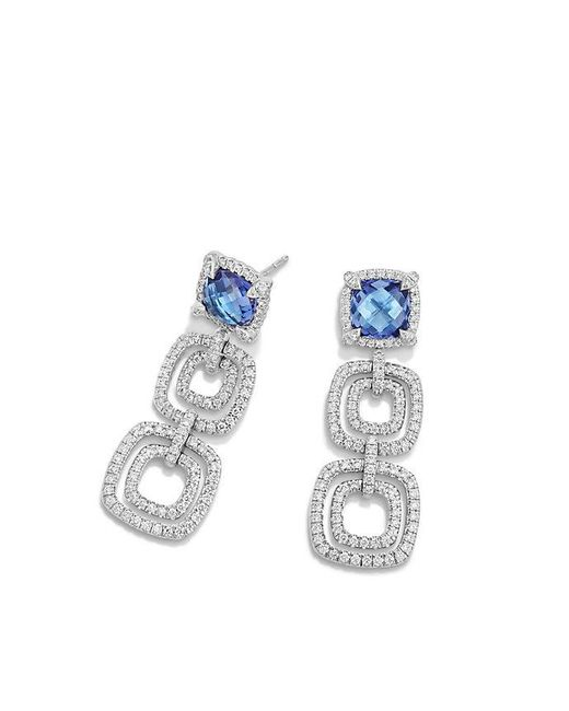 David Yurman - Multicolor Châtelaine Pave Bezel Triple Drop Earring With Tanzanite And Diamonds In 18k White Gold - Lyst