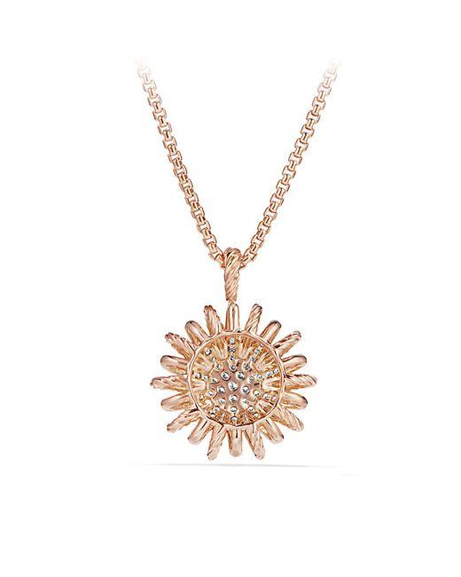 David Yurman | Metallic Starburst Pendant With Diamonds In 18k Rose Gold, 22mm | Lyst