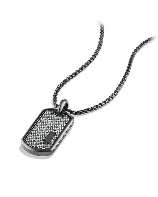 David Yurman | Pavé Tag With Gray Sapphire And Black Titanium | Lyst