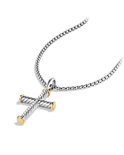 David Yurman | Metallic Cable Cross With 18k Gold for Men | Lyst