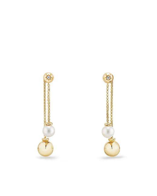 David Yurman - Metallic Solari Chain Drop Earrings With Pearls And Diamonds In 18k Gold - Lyst