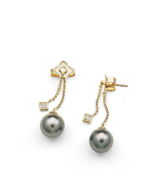 David Yurman | Metallic Solari Drop Earrings In 18k Gold With Diamonds And Tahitian Grey Pearl | Lyst
