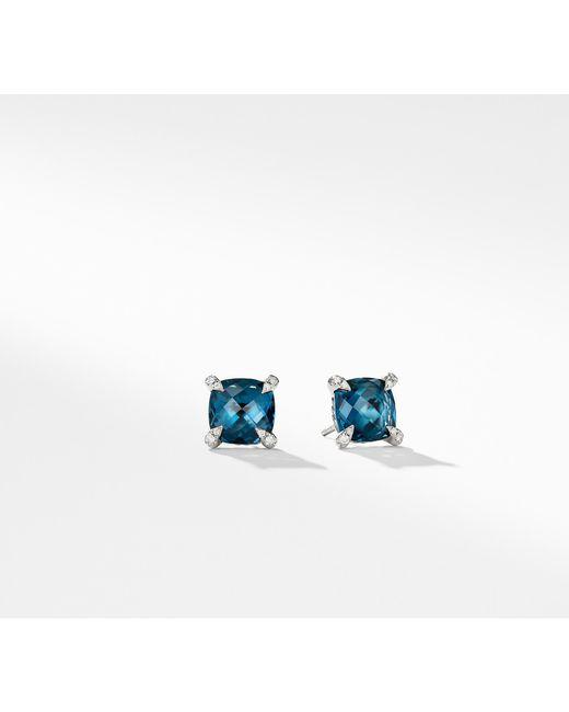 David Yurman - Châtelaine® Earrings With Hampton Blue Topaz And Diamonds, 9mm - Lyst