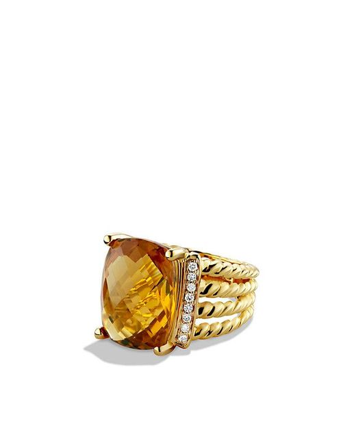 David Yurman | Yellow Wheaton Ring With Citrine And Diamonds In 18k Gold | Lyst