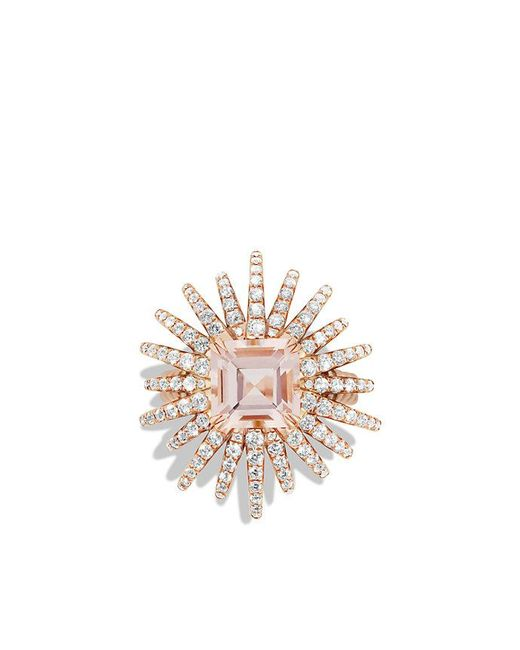 David Yurman | Pink Starburst Ring With Diamonds And Morganite In 18k Rose Gold, 25mm | Lyst