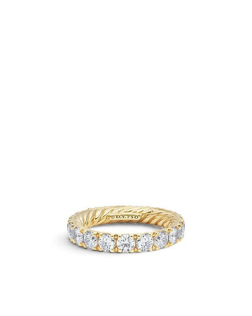 David Yurman - Metallic Dy Eden Single Row Wedding Band With Diamonds In 18k Gold, 3.6mm - Lyst