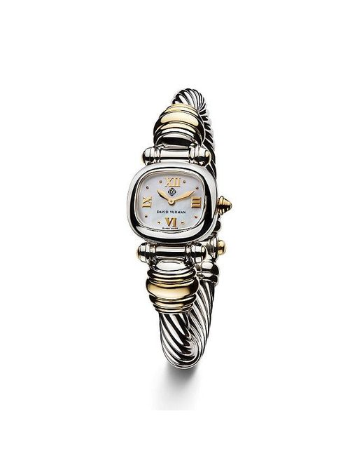 David Yurman | Metallic Cable 21mm Sterling Silver Quartz Watch With 18k Gold | Lyst