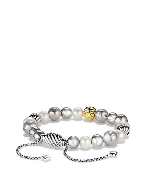 David Yurman   Metallic Dy Elements Bracelet With Pearls And 18k Gold, 8mm   Lyst