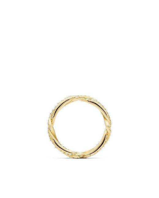 David Yurman - Metallic Dy Wisteria Wedding Band With Diamonds In 18k Gold, 3mm - Lyst