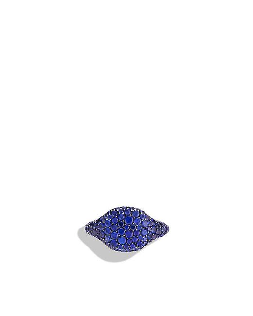 David Yurman - Petite Pavé Pinky Ring With Blue Sapphires In 18k White Gold - Lyst