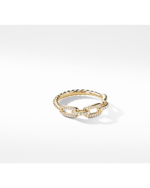 David Yurman - Metallic Stax Single Row Pave Chain Link Ring With Diamonds In 18k Gold, 4.5mm - Lyst