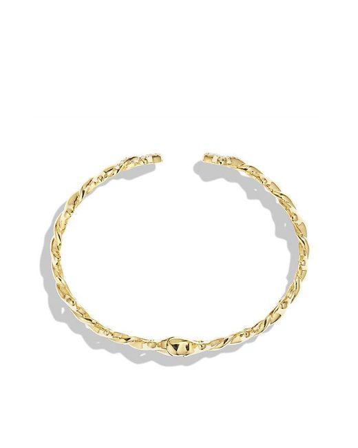 David Yurman | Metallic Venetian Quatrefoil Single-row Cuff Bracelet With Diamonds In 18k Gold, 9mm | Lyst