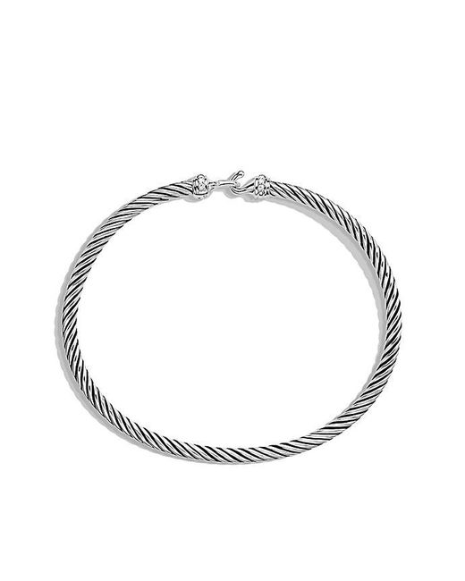 David Yurman | Metallic Cable Buckle Bracelet With Diamonds, 3mm | Lyst