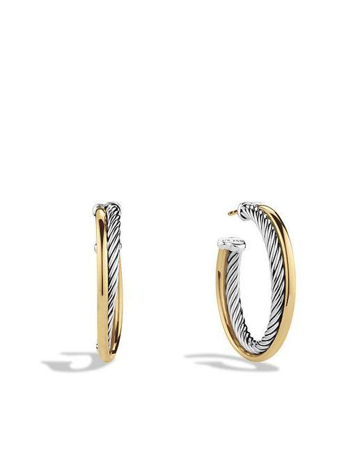 David Yurman | Metallic Crossover Hoop Earrings With 18k Gold | Lyst