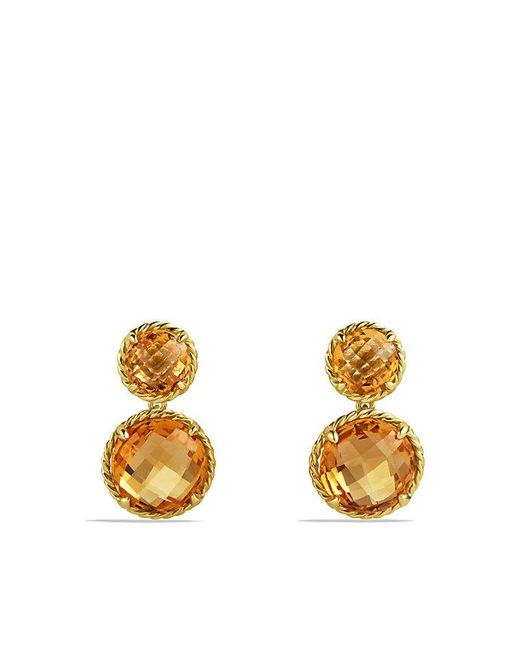 David Yurman | Yellow Châtelaine Mini Double-drop Earrings With Citrine In 18k Gold | Lyst